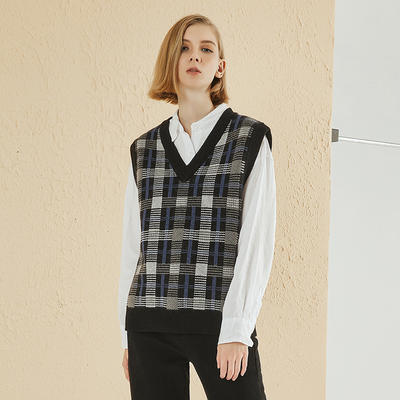 V Neck Sleeveless Knit Sweater Tops For Women YR-19SS27