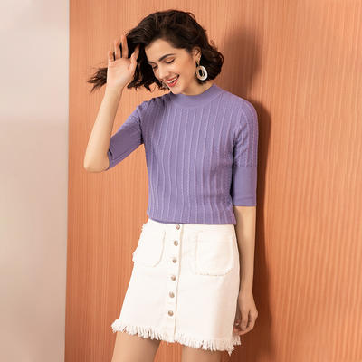 Short Sleeve Knit Tops For Ladies