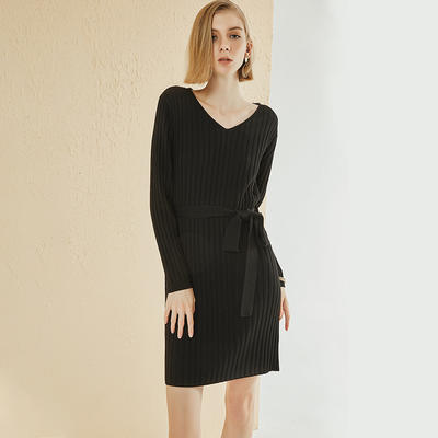 Custom womens Black Knitted dress